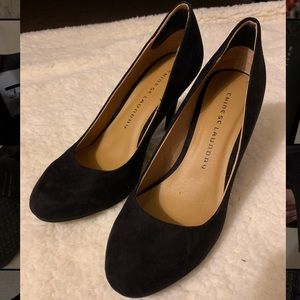 Chinese Laundry Black Suede Heels, Size 7 1/2
